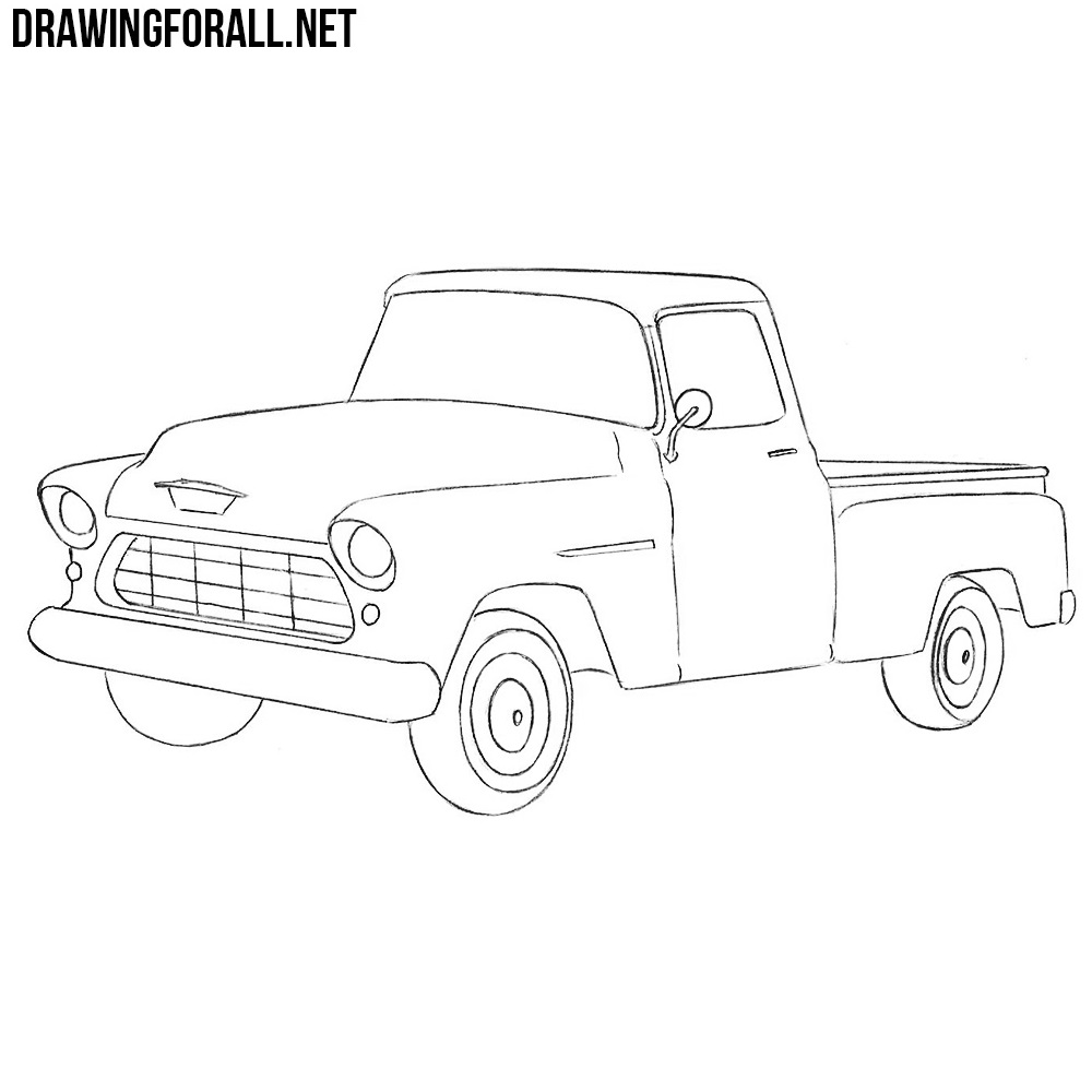 how to draw a chevy truck