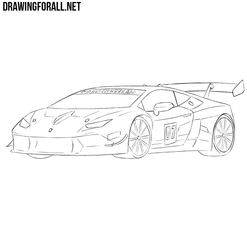 how to draw a race car easy