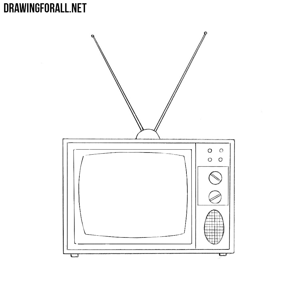 Sketch Images For Drawing: How To Draw An Old Style TV