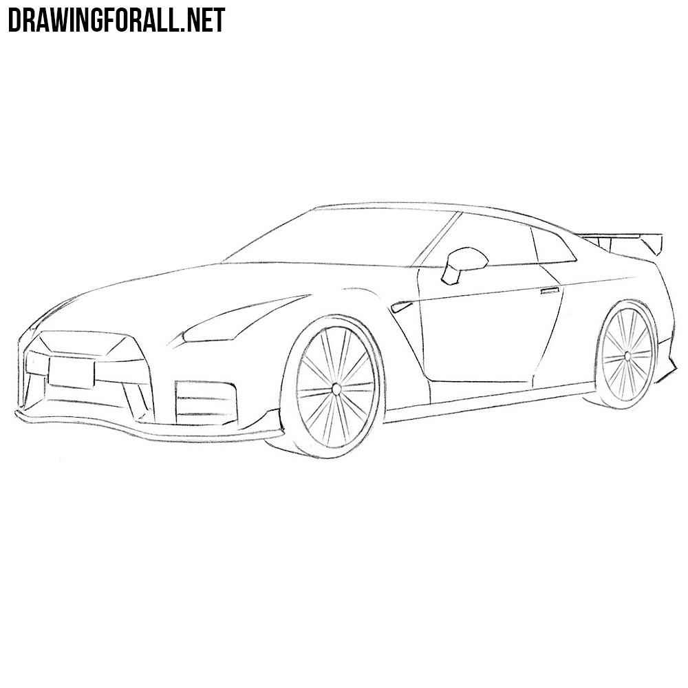 How To Draw A Nissan Gt R Drawingforall Net