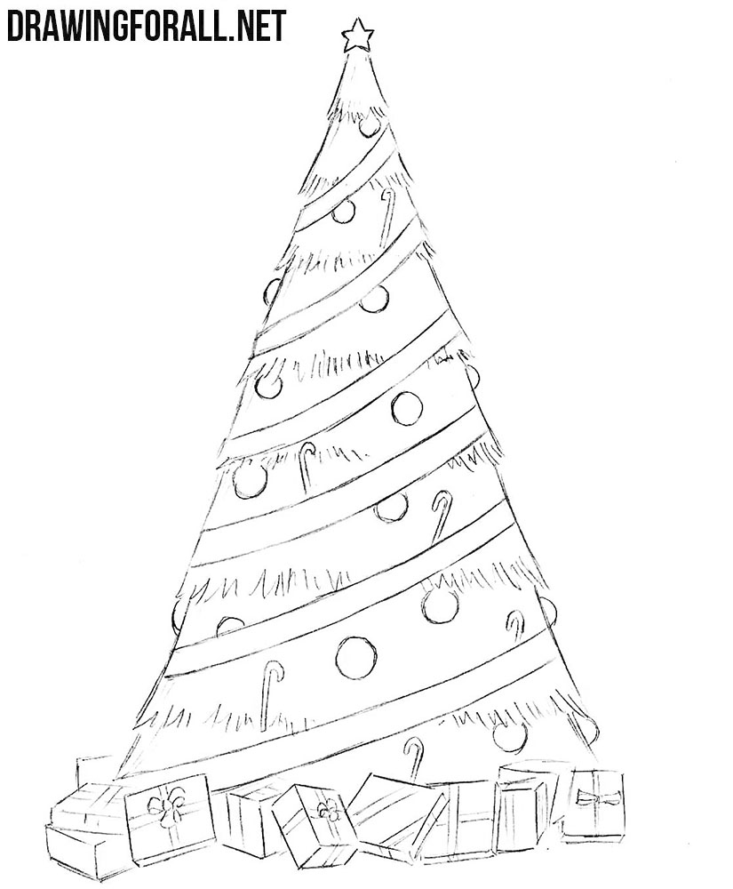 How To Draw A Simple Christmas Tree Drawingforall Net