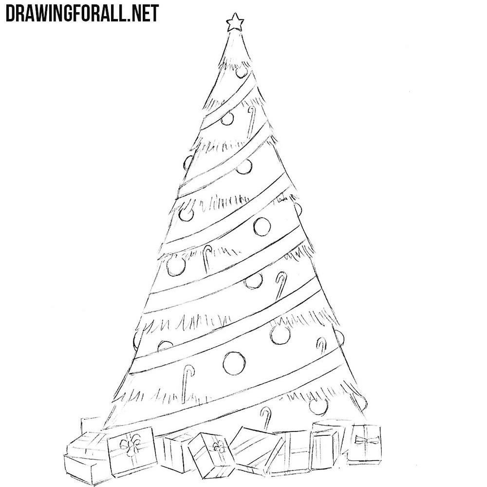 How to Draw a Simple Christmas Tree | Drawingforall.net