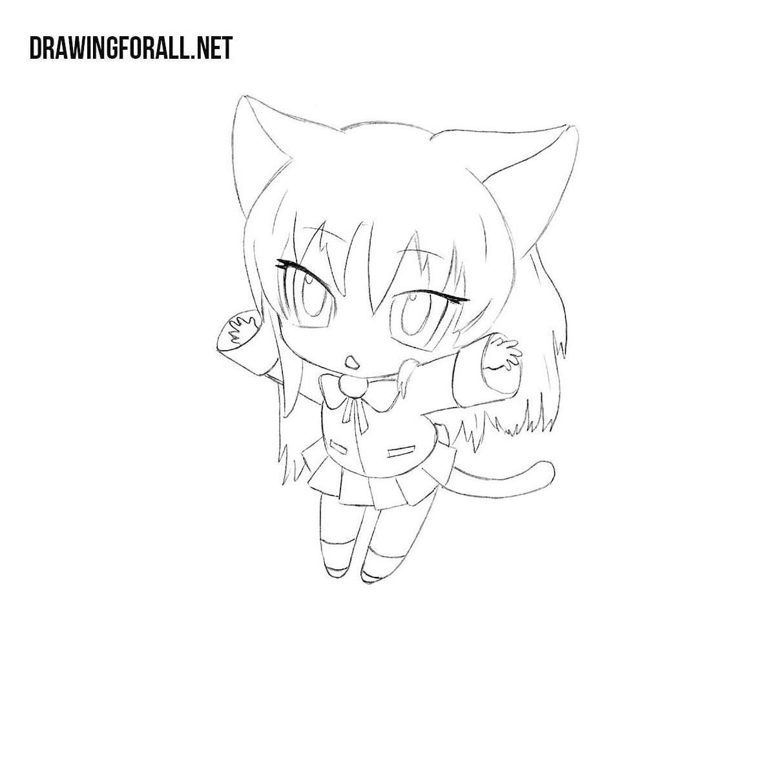 How to Draw a Neko Girl  Drawingforall.net