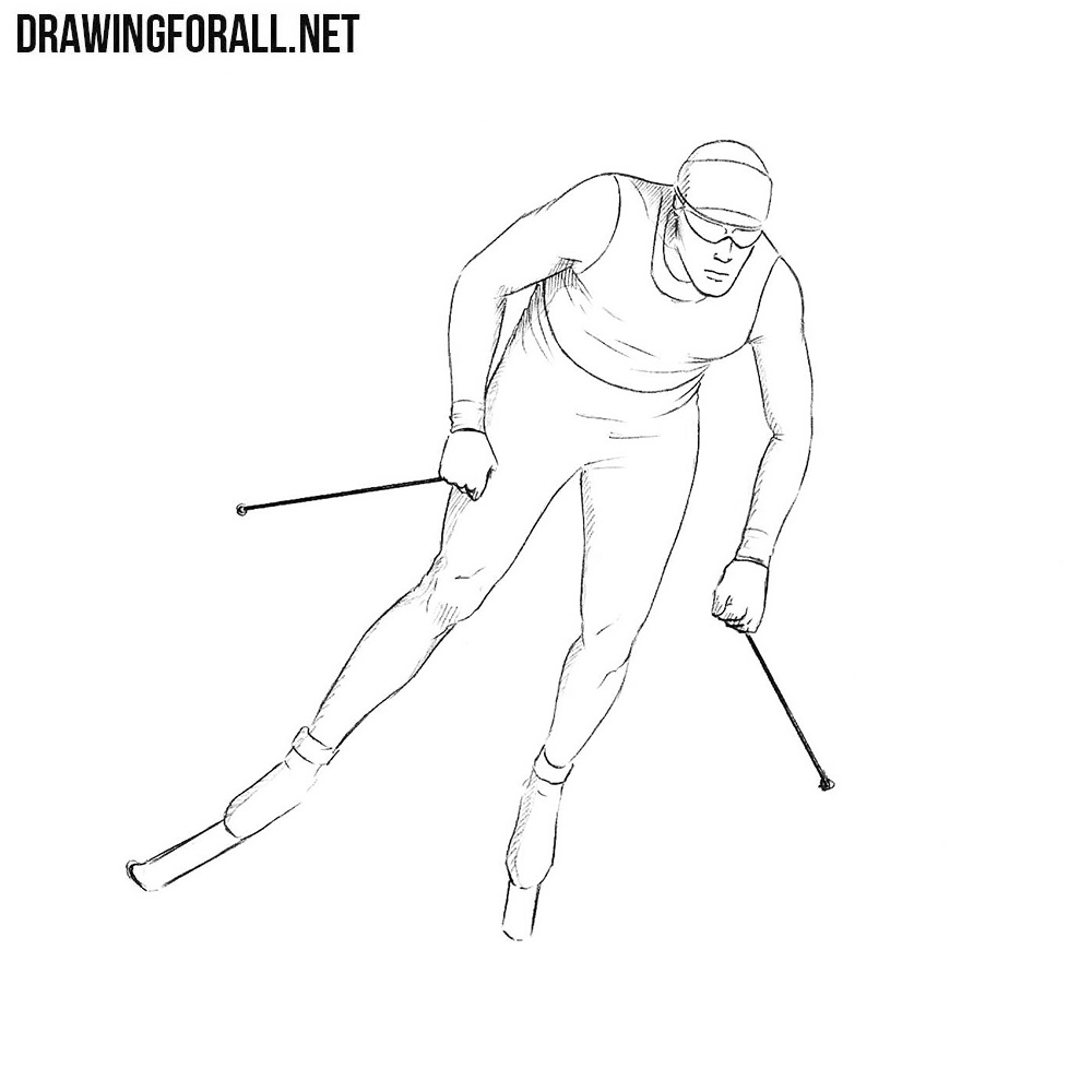 How to Draw a Skier | Drawingforall.net