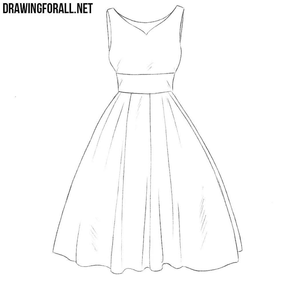 How To Draw A Dress Step By Step For Beginners Drawingforall Net