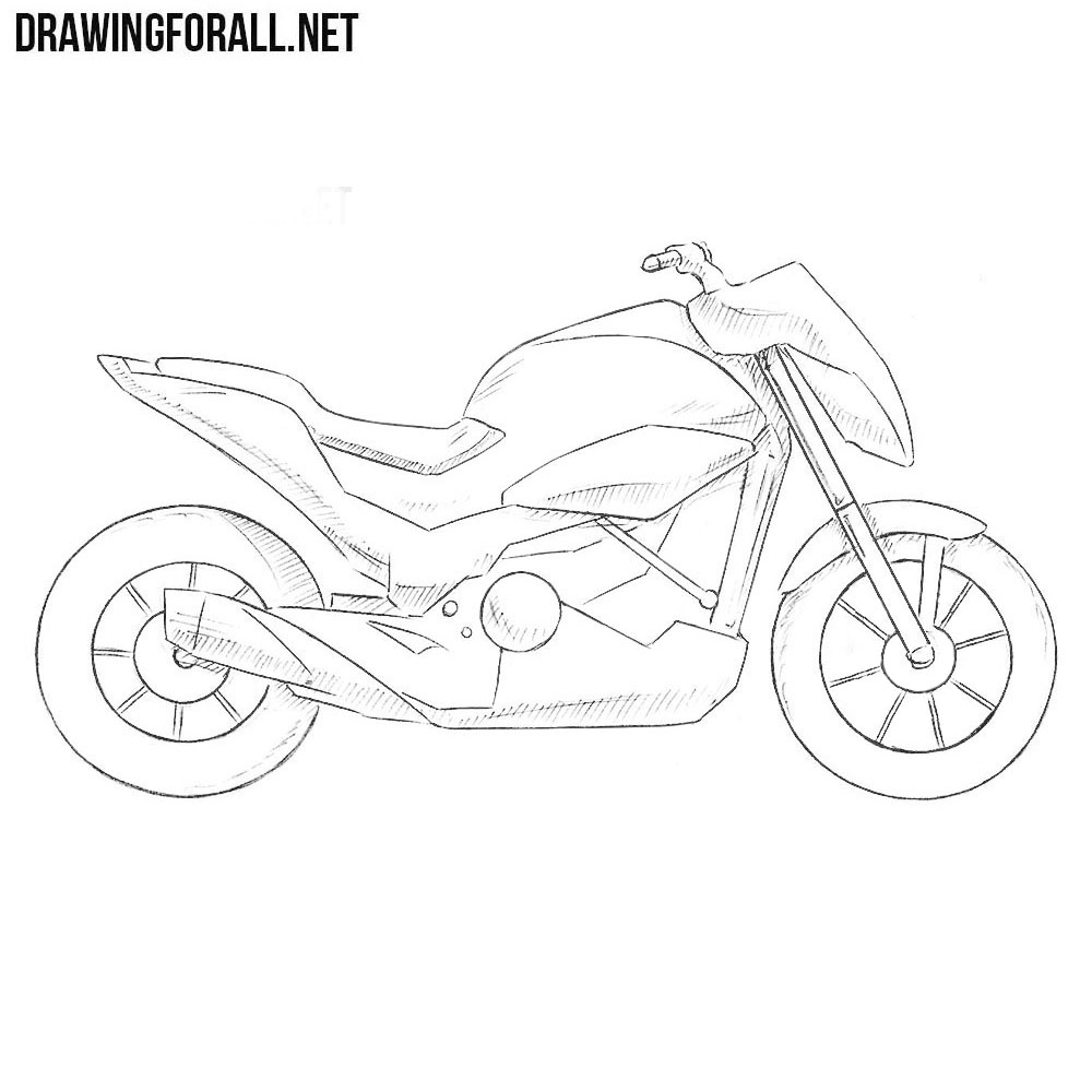 How To Draw A Motorcycle Step By Step Drawingforall Net
