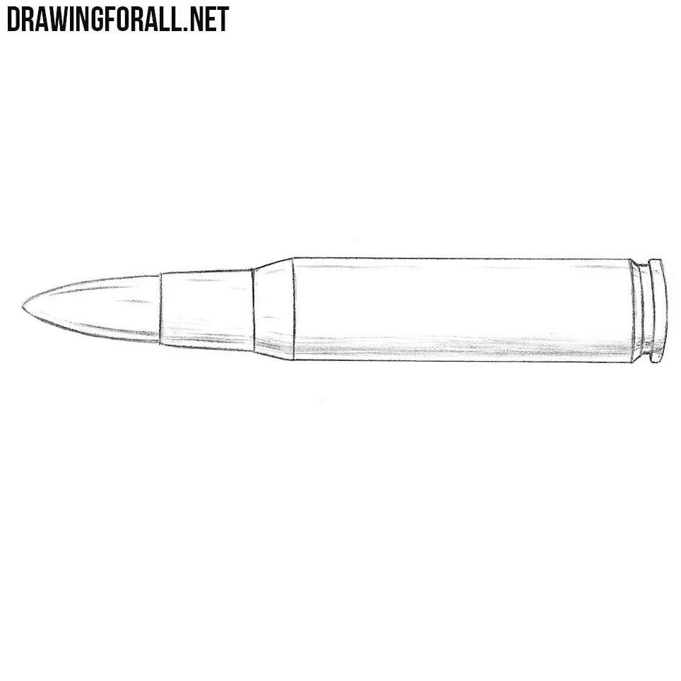 How to Draw a Bullet Step by Step