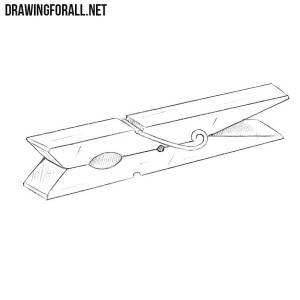 How to draw a clothespin