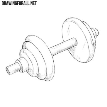 How to Draw a Dumbbell Step by Step