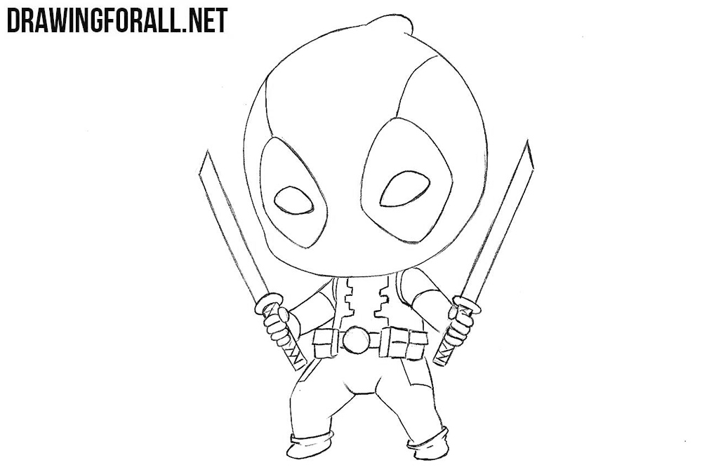 This is a photo of Exhilarating Chibi Deadpool Drawing