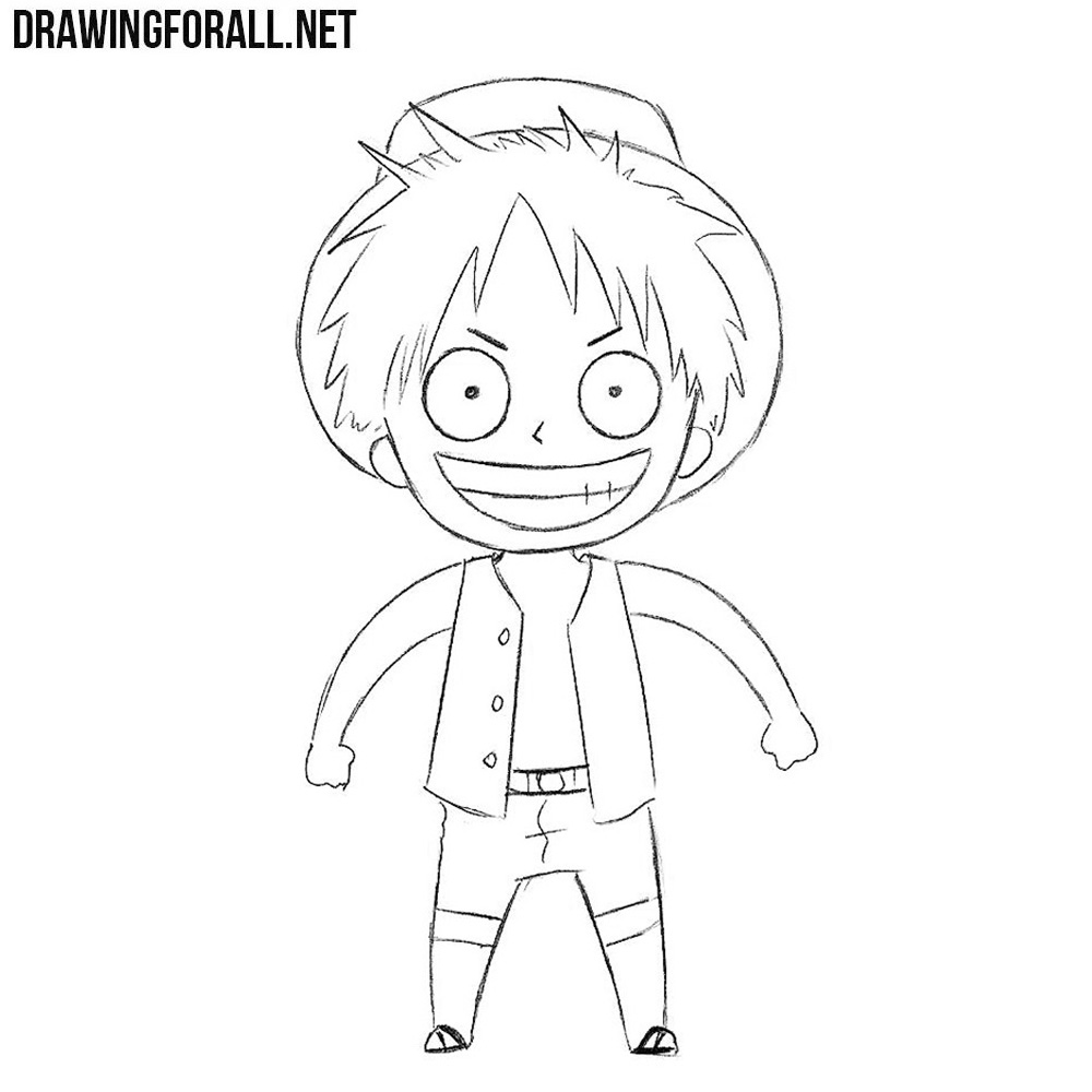 How To Draw Chibi Monkey D Luffy Drawingforall Net