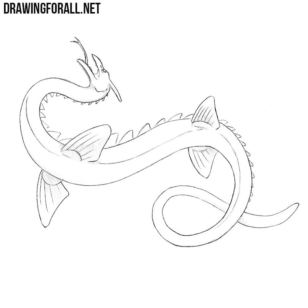 how to draw a sea serpent drawingforallnet