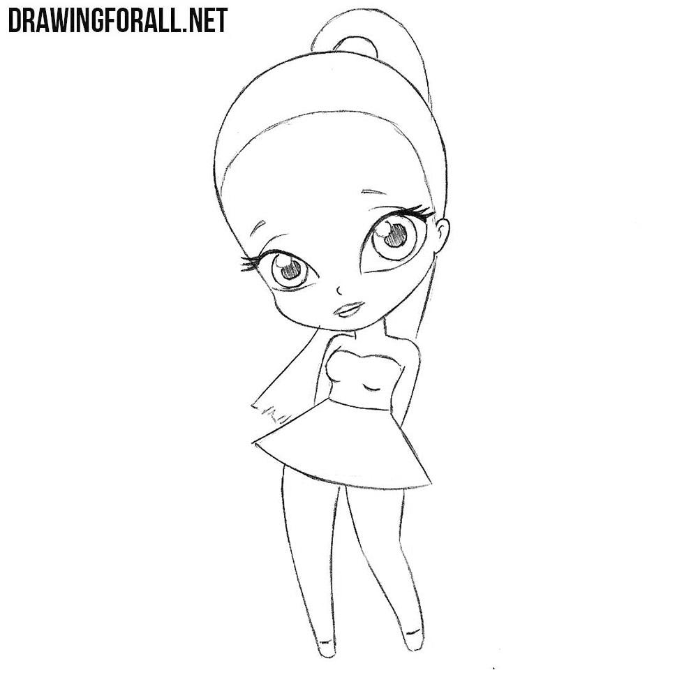 how to draw chibi ariana grande