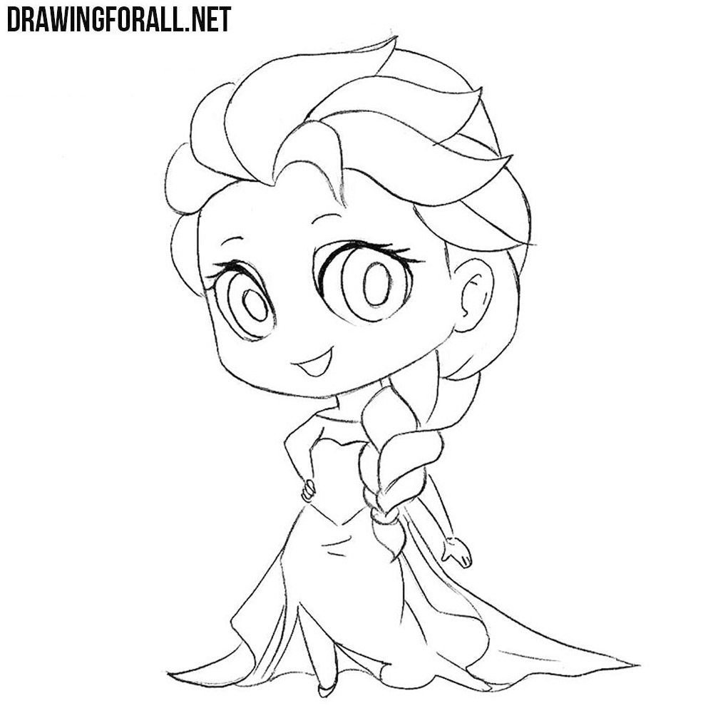 elsa head coloring pages | How to Draw Chibi Elsa | Drawingforall.net