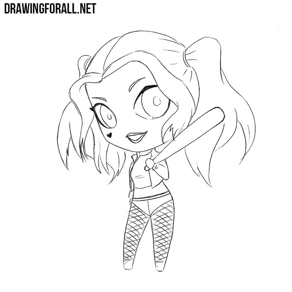 How To Draw Chibi Harley Quinn Drawingforallnet