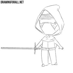How to draw chibi Kylo Ren