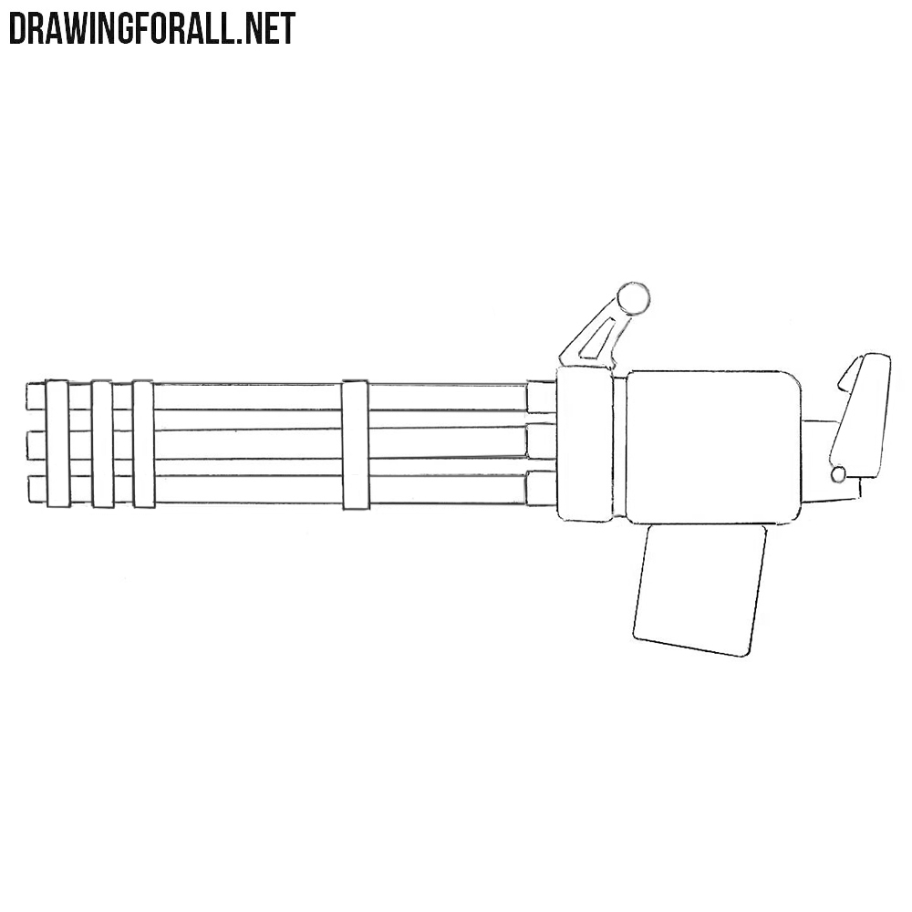 How to Draw a Minigun for Beginners | Drawingforall.net