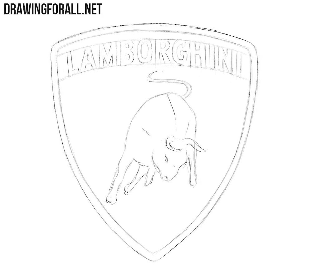 How to draw the car Lamborghini logo