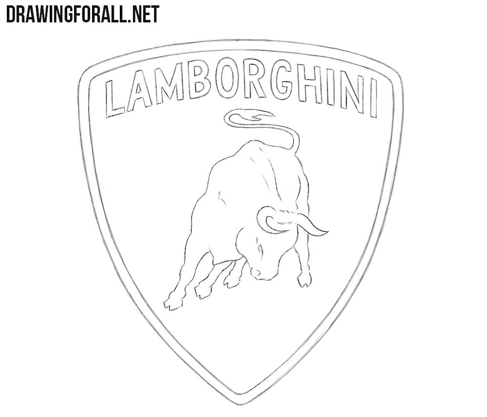 How to draw the Lamborghini logo step by step easy