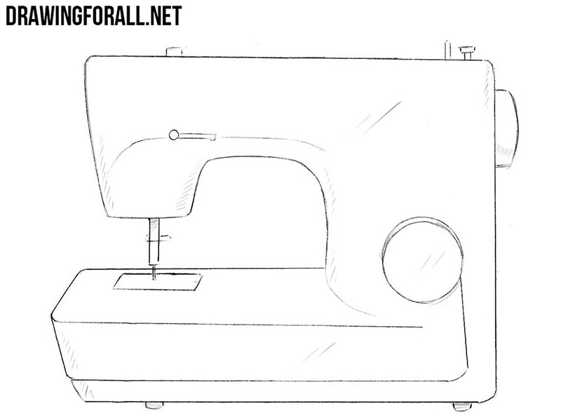 How to draw a sewing machine