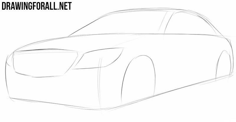 Как нарисовать автомобиль шаг за шагом легко