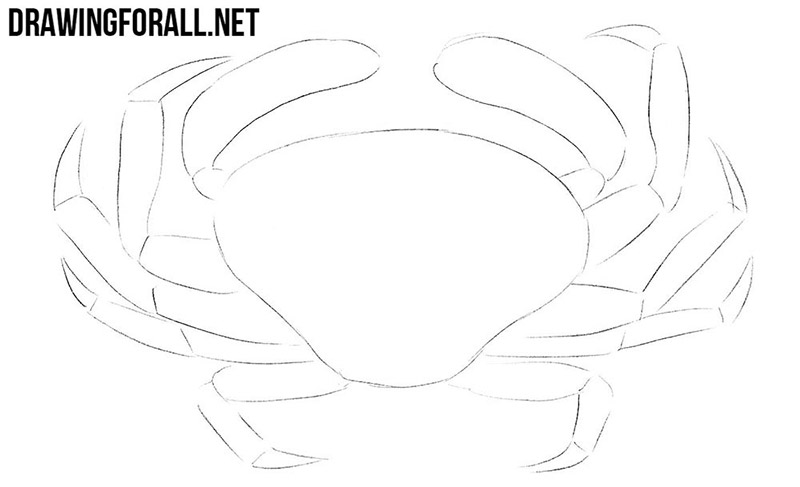 How to draw a crab step by step