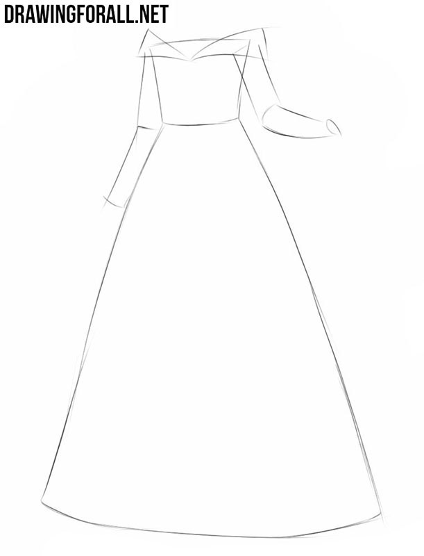 How to draw a princess dress easy