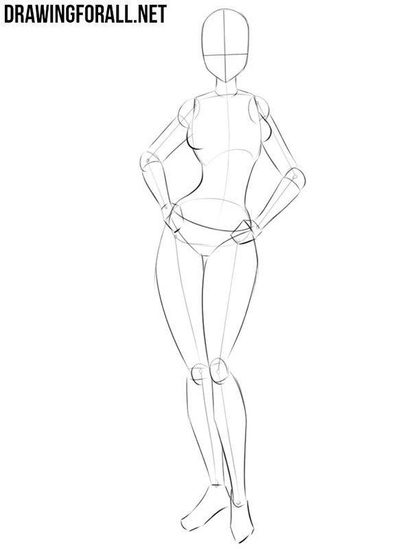 Anime girl body sketch