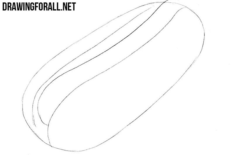 How to draw a hotdog step by step
