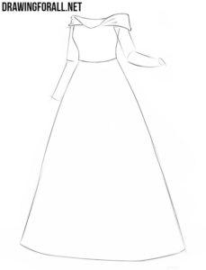 How to draw a princess dress step by step