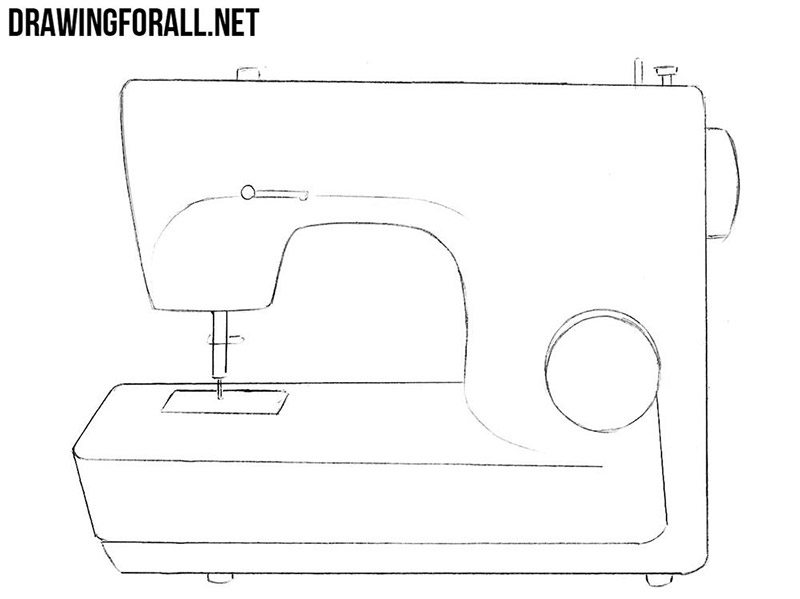 How to draw a sewing machine easy