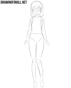 Anime girl outline