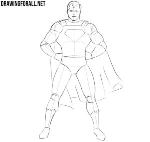 How to draw Superman step by step easy
