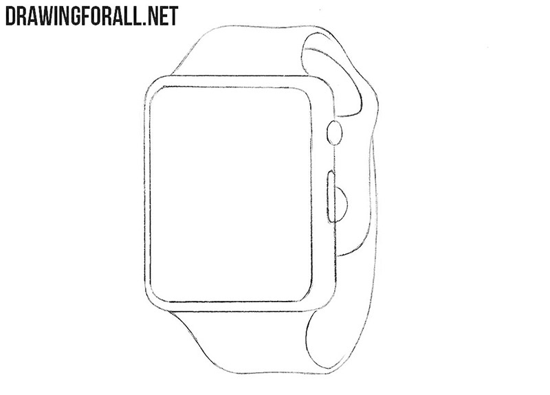 How to draw a smart watch step by step