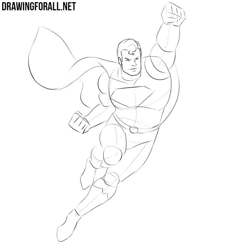 How to draw flying Superman