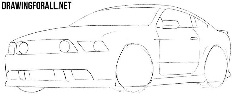 How to draw a muscle car easy