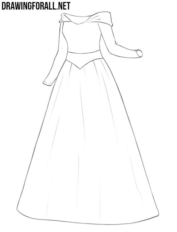 Princess dress drawing tutorial