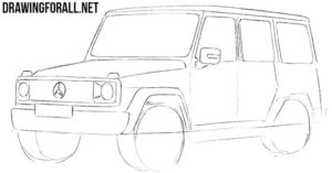 How to draw a SUV step by step