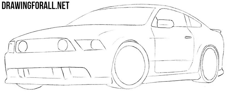 How to draw a muscle car step by step