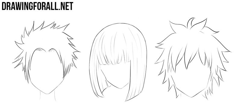 Anime hair drawings