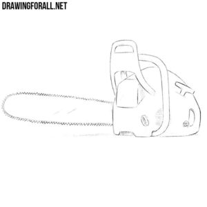 How to draw a chain saw