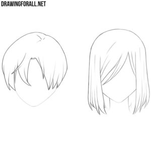 How to draw anime hair step by step