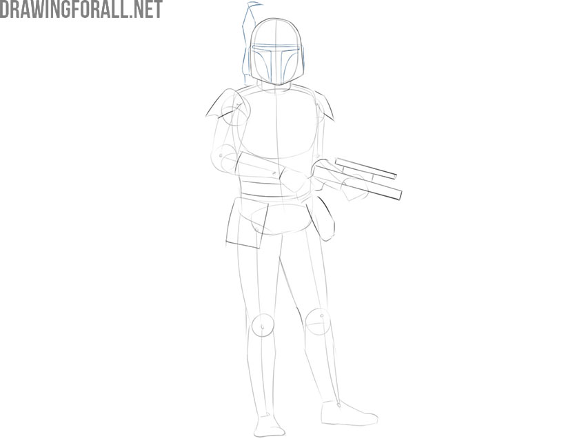 How to draw Boba Fett from star wars easy