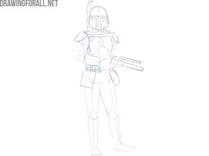 How to draw Boba Fett from star wars step by step