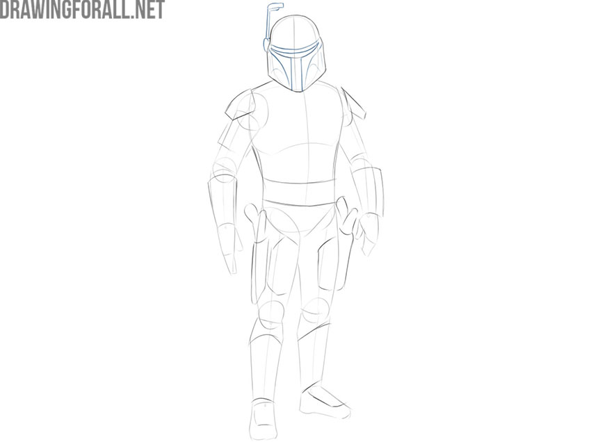 How to draw Jango Fett from Star Wars step by step