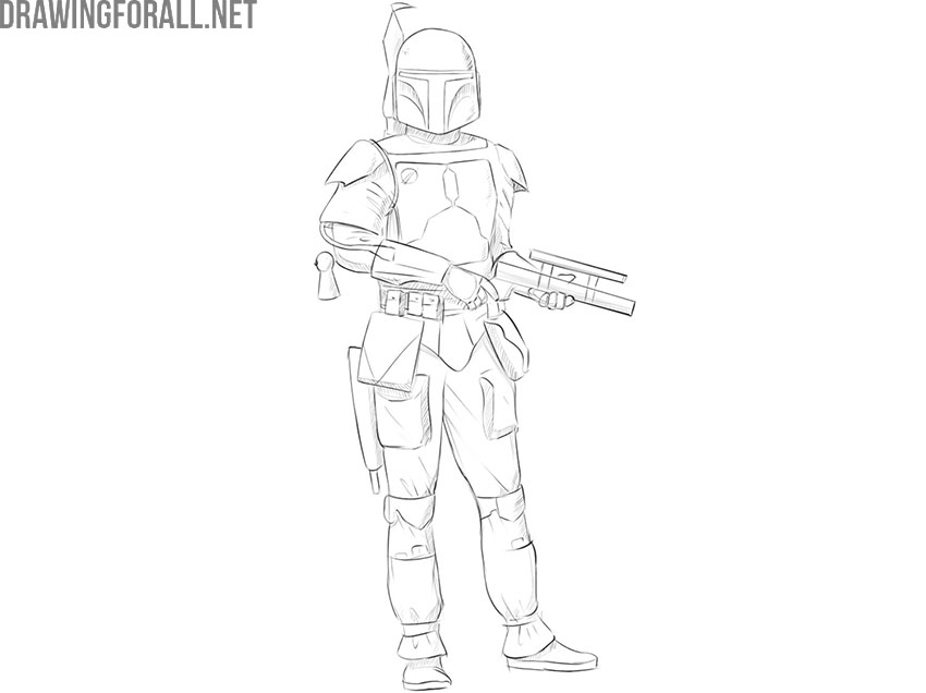 how to draw boba fett step by step