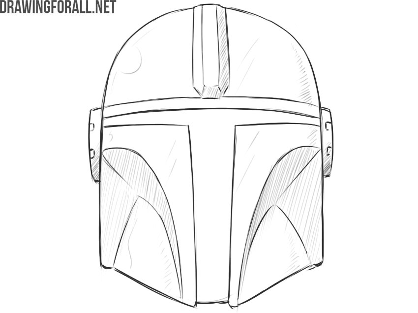 how to draw mandalorian helmet