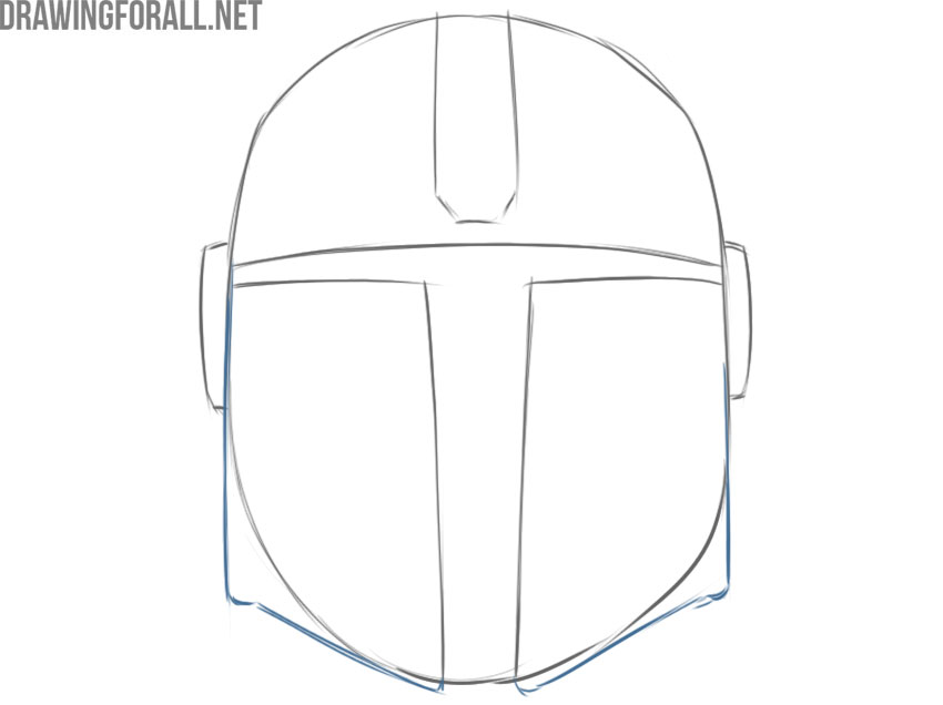 the mandalorian helmet from star wars drawing