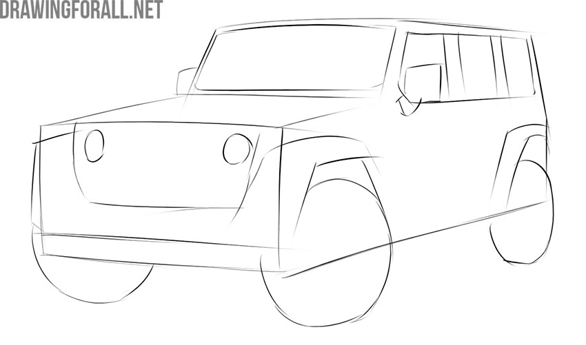 How to draw a jeep for beginners