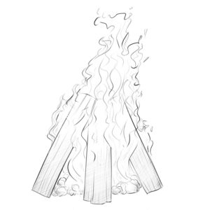 how to draw a campfire